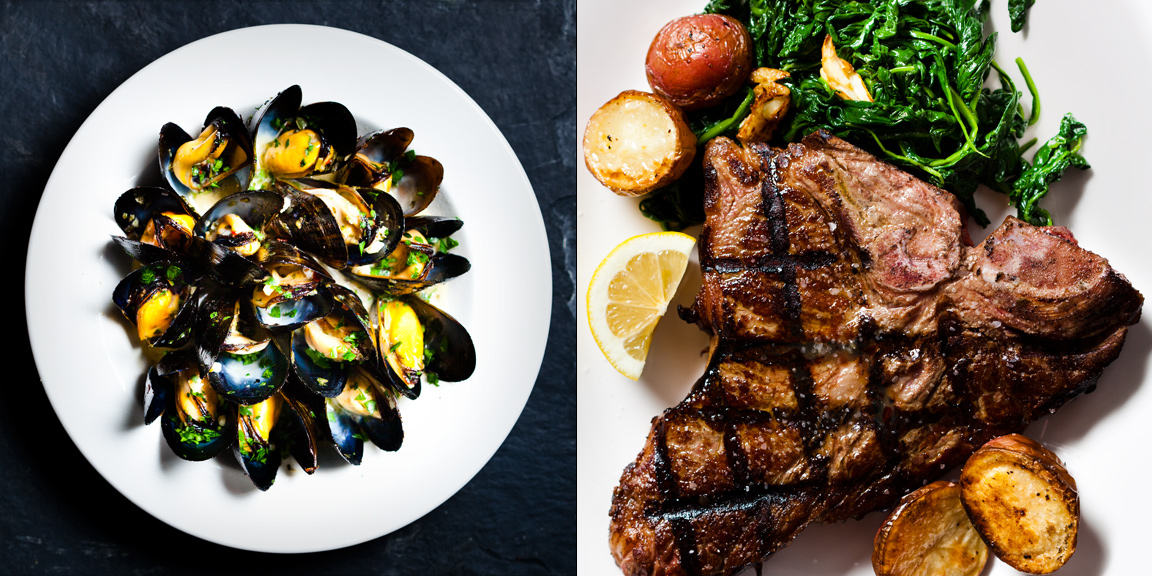 Mussels and Florentine Steak